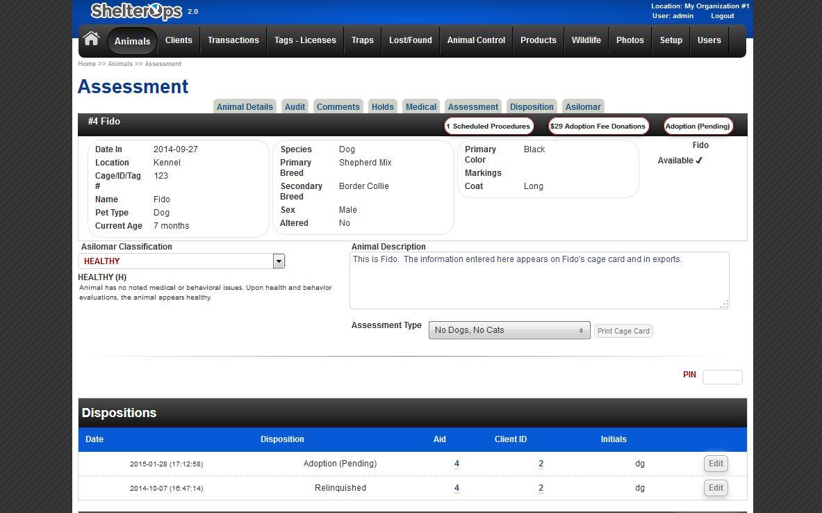 ShelterOps Animal Assessment Screen