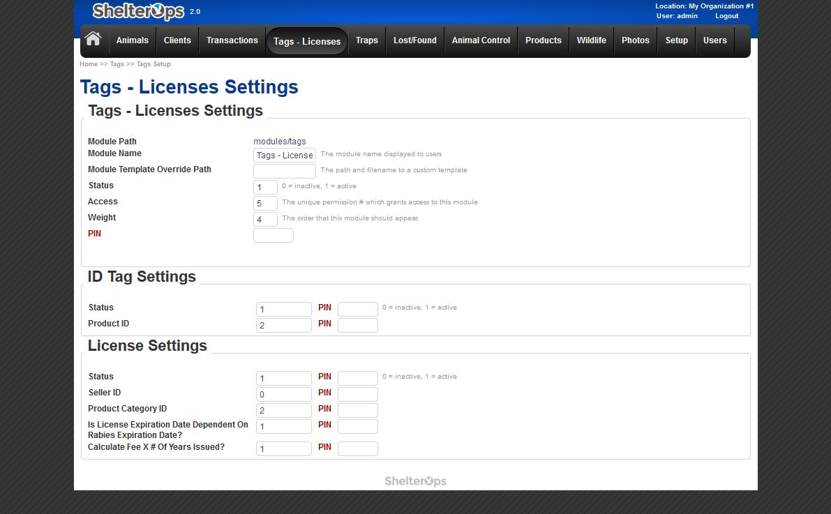 ShelterOps License Settings Screen